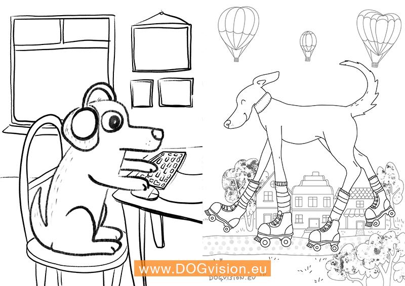DOGvision.eu gratis kleurplaten met honden