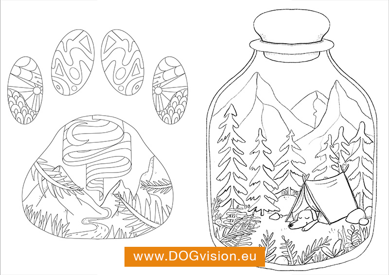 DOGvision free coloring pages with dog theme, www.DOGvision.eu